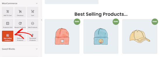 Select best selling products block