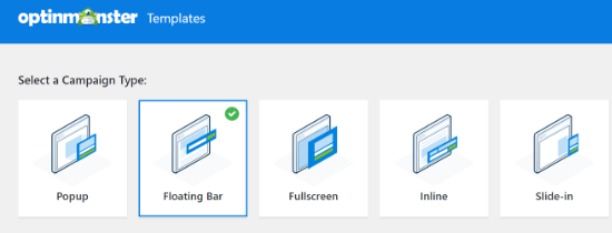 Select Floating Bar Campaign Type