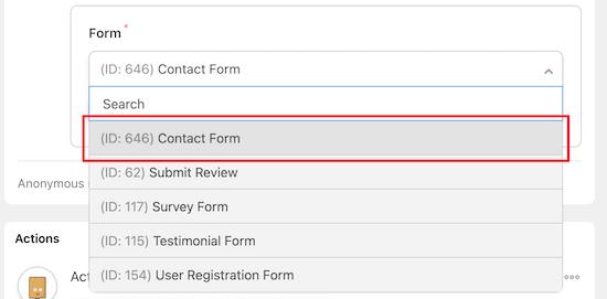 Choose WPForms form