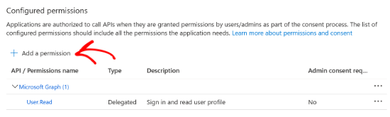 Select the Add a permission option