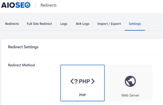 Select the Redirect Method