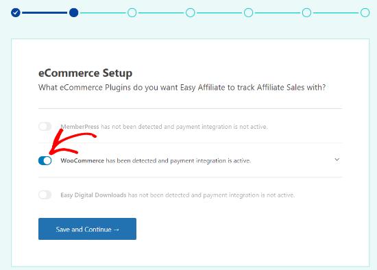Select WooCommerce eCommerce setup option
