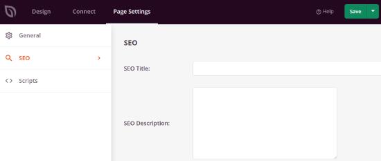 SEO page settings