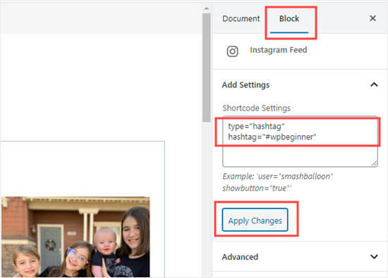 Adding the shortcode settings for the Instagram Feed block