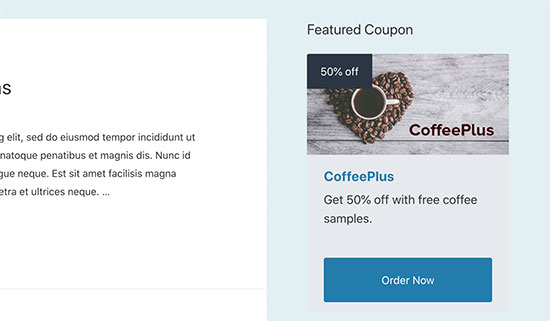 Single coupon in the sidebar