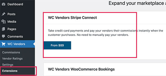 Connect Stripe to pay vendors