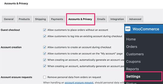 Opening user registration in WooCommerce