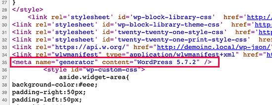 Versione di WordPress mostrata nel codice sorgente per impostazione predefinita