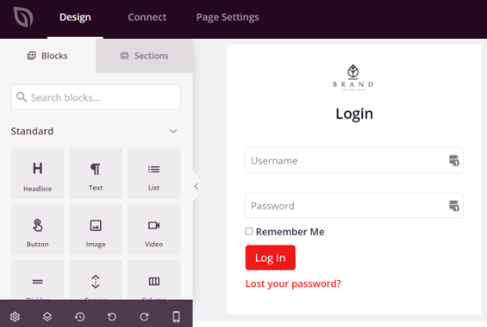 Add blocks to your login page template