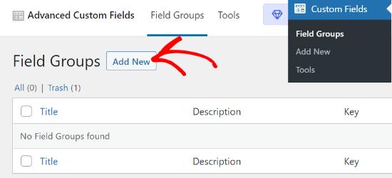 Add New field group in Advanced Custom Fields