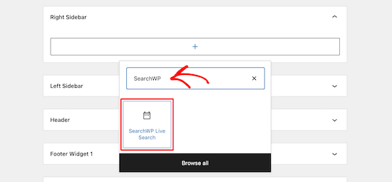 Aggiungi il widget di ricerca live SearchWP