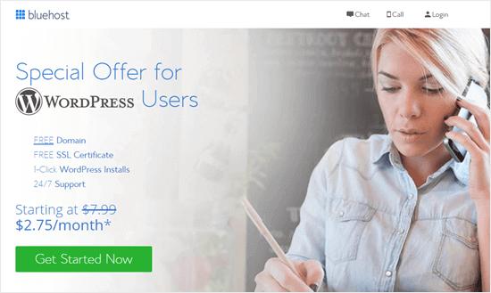 Bluehost special offer for WPBeginner readers
