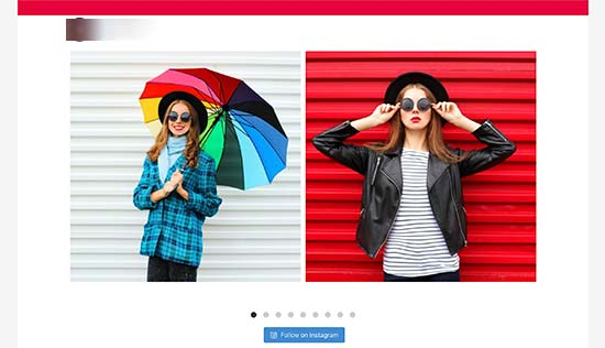 Shoppable Instagram feed carousel layout
