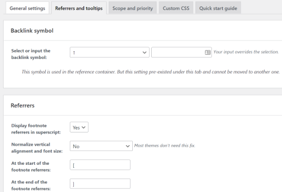 Change Referrer and Tooltips settings