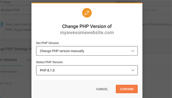 Changing PHP version in SiteGround