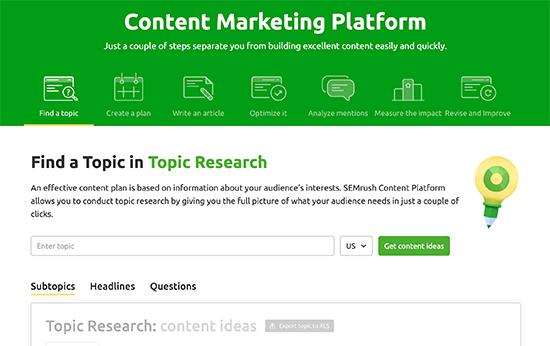 Content marketing dashboard in Semrush
