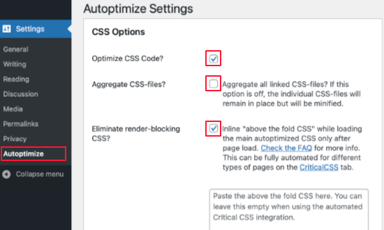 Scroll Down to CSS Options