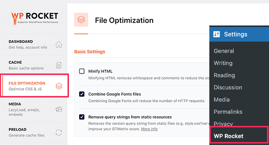 Switch to the File Optimization Tab