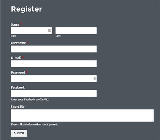 Custom registration form preview