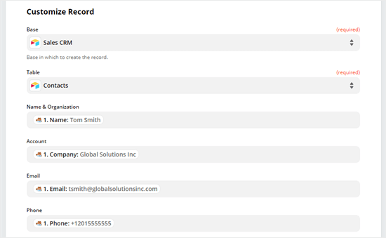 Customize your record by selecting what data should populate which column of your Airtable table