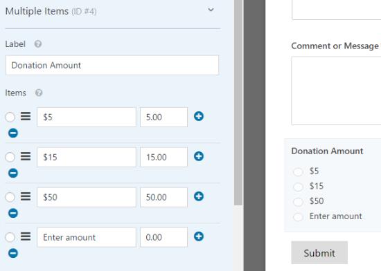 Customizing the multiple item donation amounts