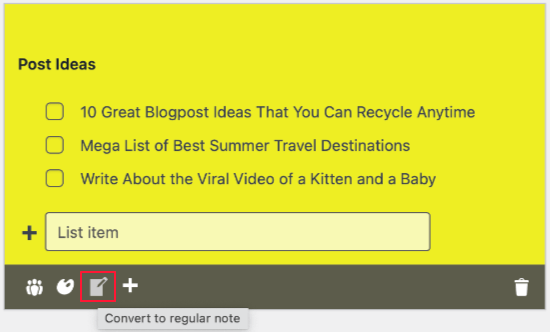 The Notes Icon Converts Your List to a Note