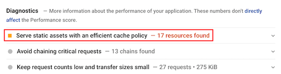 Efficient cache policy warning