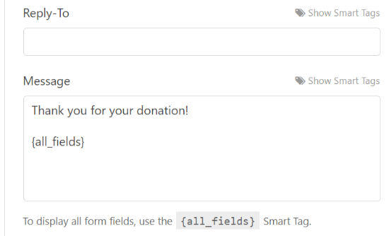 Enter a message for your donors