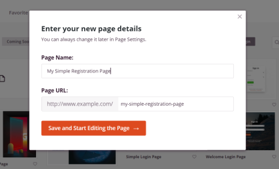 Enter a Name and URL for your login page
