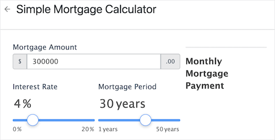 Formidable Forms mortgage calculator