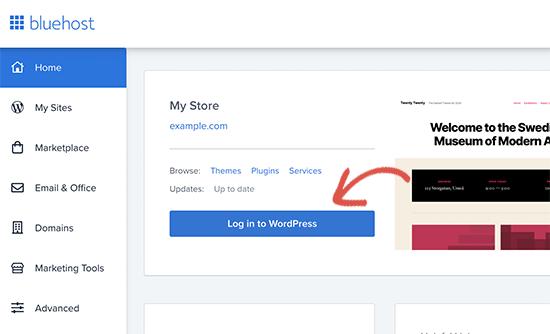 Log in to WordPress
