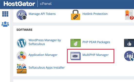 Launching MultiPHP manager in HostGator