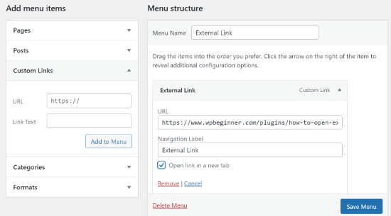 Open external link in a new tab in menu