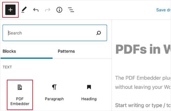Add a PDF Embedder Block