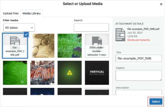 Select or Upload Media
