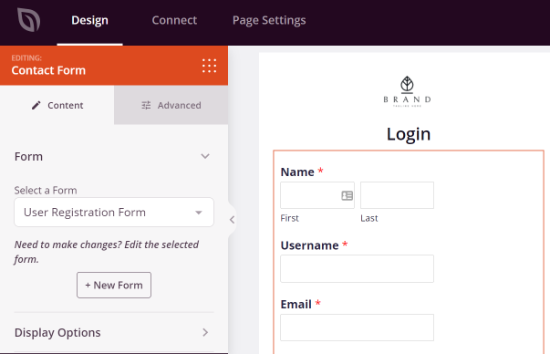 Preview of registration form in landing page builder