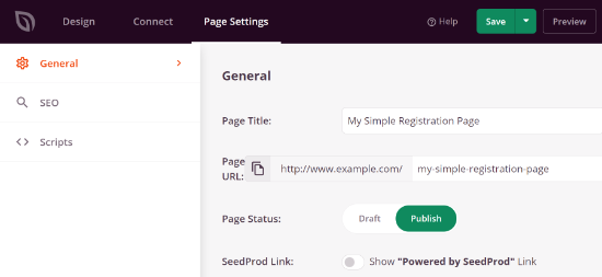 Publish your login page from the page settings