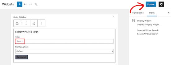 Personalizza e salva widget di ricerca in tempo reale