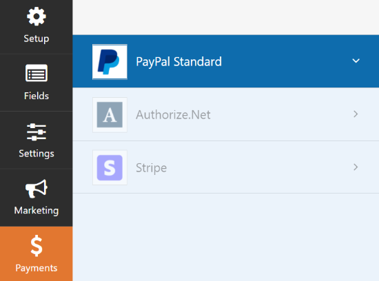 Select PayPal Standard in payment settings