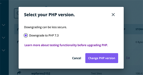 Upgrade or downgrade PHP version in WP Engine