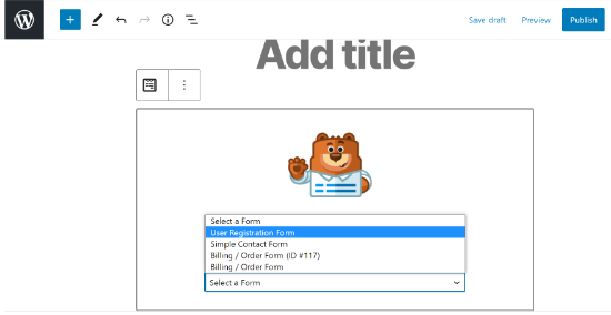 Select your registration form in WPForms block