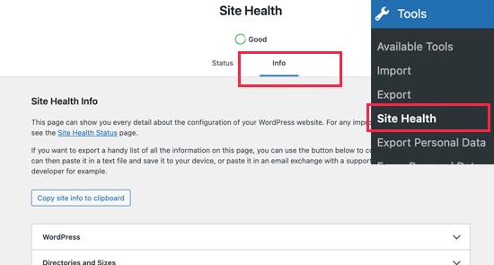 Info section under WordPress Site Health tool
