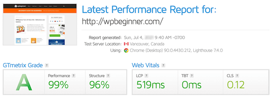Site speed test results