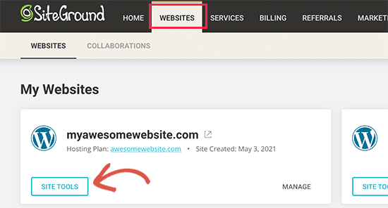 Site Tools section on SiteGround