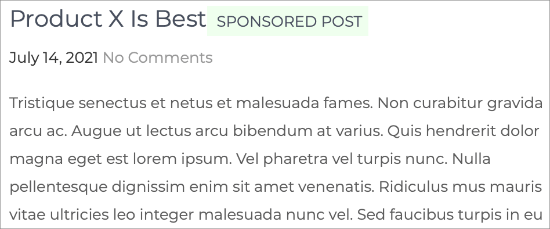 Preview of Sponsored Post Suffix with Custom CSS