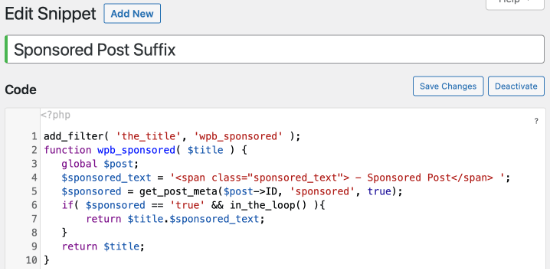 Custom Code Snippet for Sponsored Post Suffix