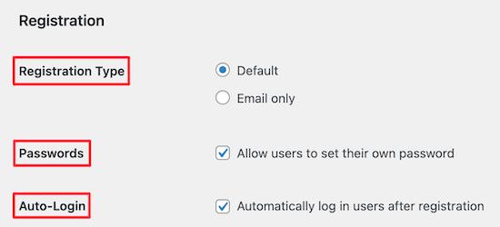 Theme My Login registration settings