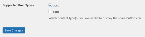 Select the Supported Post Types