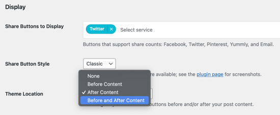 Select Where the Button Should Appear