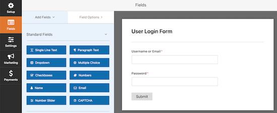 WPForms login form